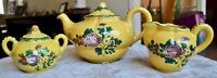 "P.V. ""Peasant Valley"" Italian Pottery Hand Painted Teapot with Creamer and Sugar"