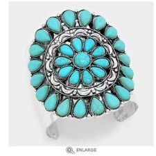 Large Wide Turquoise Metal Silver Cuff Wide Chunky Costume Stone Bracelet