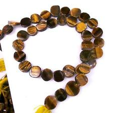 "14"" Natural Tiger Eye Puff Coins Drilled Loose Beads Jewelry Making 89 Ct+/8-9mm"