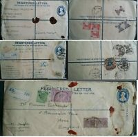 India 1928 -1949 3 Registered Embossed Covers with Stamps Calcutta Koda