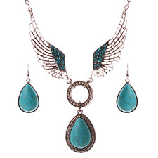 Charm Women Wings Turquoise Drops Pendant Choker Chunky Statement Chain Necklace