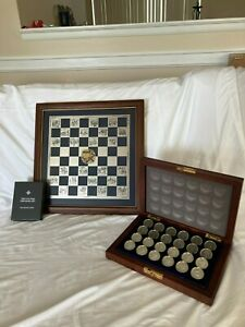 1980's Franklin Mint Civil War Pewter Checkers Set with Cards and Rare Board