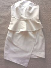 Keepsake White Strapless Peplum Dress Size S