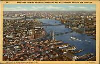 Bridges Brooklyn Manhattan Williamsburg New York City NY vintage aerial postcard