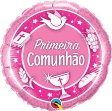 """Primera comunhao Rosa Qualatex 18"""" Agujeta balaju de Folha"""