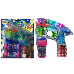 bubble gun LED flashing bright lights 2 bottles bubble refill batteries included