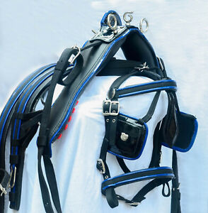 NYLON CART DRIVING HARNESS SET TWO TONE BLACK/ BLUE COLOUR IN ALL SIZES
