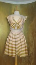 DEAR CREATURES - Dresden Dress Mustard Stripe modcloth Vintage Retro M