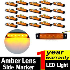 20pcs Amber 12V 6 LED Side Marker Indicators Lights For Lorries Truck Trailer