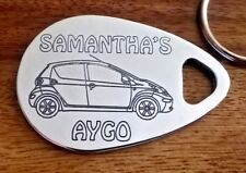 Personalised TOYOTA AYGO keyring 5 door ANY NAME engraved aluminium custom made