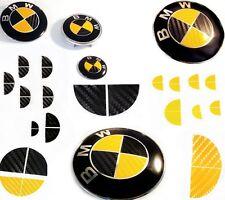 BLACK & YELLOW CARBON FIBER Complete Set Vinyl Sticker Overlay All BMW Emblems