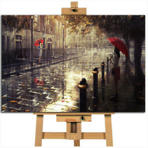 London girl red umbrella absract canvas wall art print