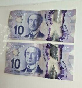 2 Canadian $10 Dollar Bank Notes Circulated Canada, Good Condition, Banknotes