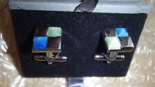 "MACHADO CUFF LINKS By: George Machado 1/2"" SQUARE MULTI COLOR, MENS"