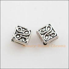 40Pcs Tibetan Silver Tone Flower Square Spacer Beads Charms 5mm