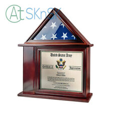 3x5 Flag Display Case with Certificate and Document Holder Solid Wood Shadow Box