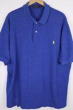 Polo Ralph Lauren Mens 3XLT Tall Blue Mesh Short Sleeve Shirt Yellow Pony