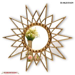 "Gold Star Mirror 23.6"", Decorative Wall Mirror, Starburst mirro for wall decor"