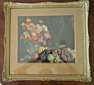 VINTAGE HANS HEYSEN c1921 FRAMED  PRINT..signed..FLOWERS & FRUIT..RARE