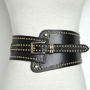 Women Studded Faux Leather Belt Waist Cincher Wide Cinch Belt Corset Belt Gothic