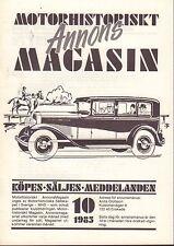 Motorhistoriskt Magasin Annons Swedish Car Magazine 10 1985 Riley 032717nonDBE