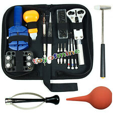 Watch Repair Tool Kit Case Opener Link Remover Spring Bar Tool w/Case 16 Items