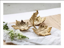 Gilded Leaf Decorative Bowl 3 Sections bowl / Embossed Leaf tray New