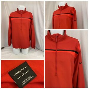Nike Golf Jacket L Red Pullover 1/2 Zip Water Resistant Poly Mint YGI W0-18