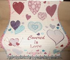 New Valentines Day Covered in Love Red Pink Hearts Afghan Gift Throw Blanket NIP