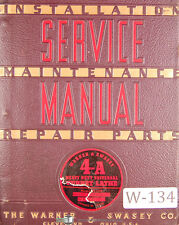 Warner Amp Swasey 4a Turret Lathe M 1500 Lot 68 Service And Parts Manual 1941