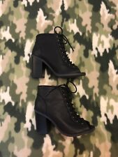 Lolashoetique Booties Black Size 5.5 Open Toed Lace Up Boot