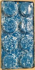 VINTAGE BLUE AND WHITE SWIRL GRANITEWARE MUFFIN PAN 8 Cup