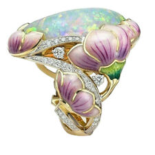 Personalized Enamel Flower Exaggerated Women Painted Ring Jewelry Gift