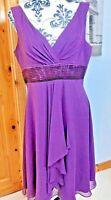 Dollar Purple Size 16 Sheath Dress Purple Wedding Party Floaty Evening Chiffon