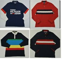 NWT Men's Tommy Hilfiger Long-Sleeve Rugby Polo Shirt Multi XS - 3XL