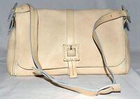 Francesco Biasia Creamy Off White Blue Edging Pebbled Leather Shoulder Bag Italy