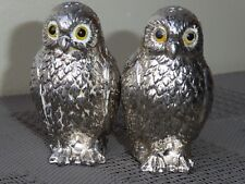 MAURO MANETTI ? OWLS SALT AND PEPPER CELLARS SILVER PLATED CUTE NO ICE BUCKET