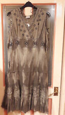Ladies Khaki Green Dress with flowers & sequins size 20 Roman New