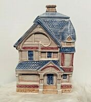 TREASURE CRAFT Cookie Jar Victorian House Ceramic Hand Painted Vintage USA
