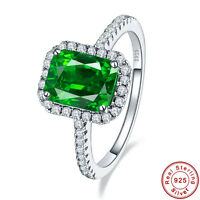 3.5CT AAA Emerald 100% Solid 925 Sterling Silver Gemstone Ring Size L½ N½ P½ R½