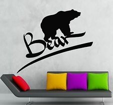 Wall Stickers Vinyl Decal Grizzly Bear Animal Predator Cool Room Decor (ig338)