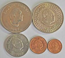 5 TONGA COINS, PA`ANGA TO 1 SENTI, 1967-1968 BU