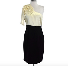 Trina Turk Black and Cream One Shoulder Dress/Size 6 NWT