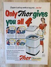 Original Magazine  Print Ad 1951 THOR Washing Machine Washer 1950s Housewife
