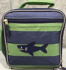 "69e9f42d7f5624 Pottery Barn Kids Navy/Green Fairfax Stripe Lunch Bag ""Shark"