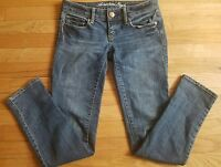 American Eagle Women's Denim Jeans Size 0 Skinny Stretch Low Rise Distressed