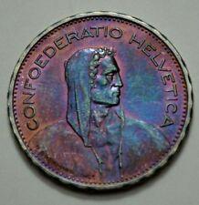 1931-B Swiss 5 FR Confoederatio Helvetica Coin Silver P.Bvrkhard.Inc.,Toned, N R