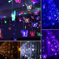 3.5M 96LED Indoor Outdoor Curtain Fairy Lights String Xmas Party Icicle Snowing