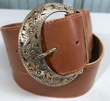 """Axcess Womens Wide Leather Brown 35"""" Long Medium Fashion Belt"""