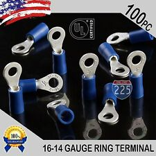 100 PACK 16-14 Gauge #8 Stud Insulated Vinyl Ring Terminals 100% Tin Copper Core